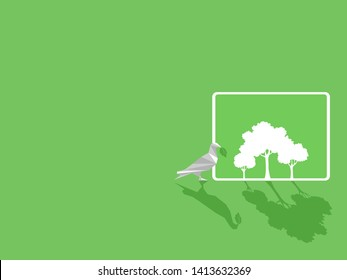 White paper bird with green leaf, white tablet device gadgets white trees on green display paperless idea go green concept, conceptual design, save the planet, Low polygonal style flat vector.
