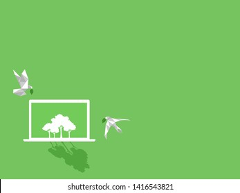 White paper bird with green leaf fly to white notebook device gadgets white trees on green display paperless idea go green concept, conceptual design, save the planet, Low polygonal style flat vector.
