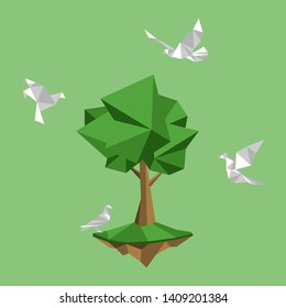 White paper birds fly around land and tree, paperless concept go green, save the planet. Low polygonal style flat vector.