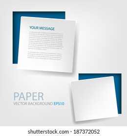 White paper box background on blue frame vector abstract on grey white background for text and message design