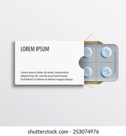 White paper box for tablets and pills in a blister pack. For design and branding