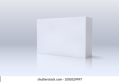 White paper box. Vector illustration. 3d package mockup. Template for medicines branding design. Light realistic container in perspective view