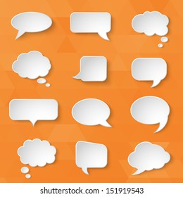 White paper bubbles for speech on an orange background. Universal set 1. Abstract design. Vector illustration.