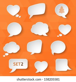 White paper bubbles for speech on an orange background. Universal set 2. Abstract design. Vector illustration.