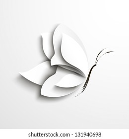 White paper butterfly. Abstract design