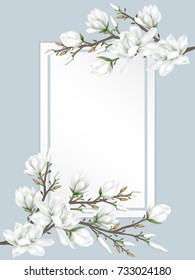 White paper card with border decorated with branches of white magnolia blossom flowers on warm blue background. Vector illustration.