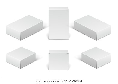 White paper cardboard package boxes. Set of blank cosmetic, medical and electronic devices boxes isolated on white background.