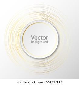 White paper circle banner with drop shadow on white background template. Sparkling golden rings. Vector illustration
