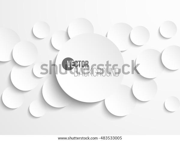 白い背景に白い紙の丸のバナーとドロップシャドウ。ベクターイラスト