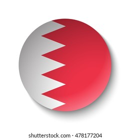 White paper circle with flag of Bahrain. Abstract illustration