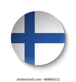 White paper circle with flag of Finland. Abstract illustration