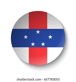 White paper circle with flag of Netherlands Antilles. Abstract illustration