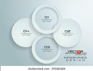 White Paper Circles Infographics Design, Vector Illustration
