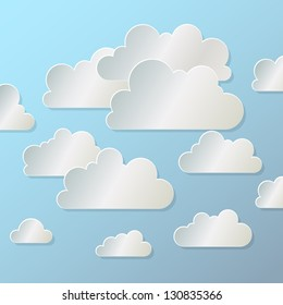 white paper cloud  on  blue background, eps10