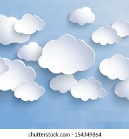 White paper clouds on a blue background. Design elements. Vector illustration.