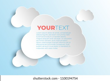 White paper clouds on color  background. Design elements. Vector illustration. Cloud Vectors.