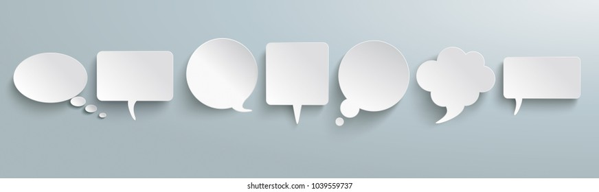 White paper communication bubbles on the gray background. Eps 10 vector file.