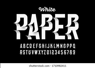 White paper craft style font design, alphabet letters and numbers vector illustration