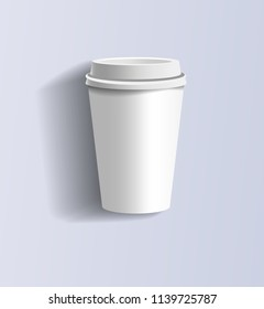 White paper cup with cap. White paper cup with cap on a light lilac background. Paper cup with cap mockup. White paper cup with cap for your design. Front side. Isolated. Vector illustration Eps10