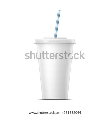 white paper cup template soda cold stock vector royalty free
