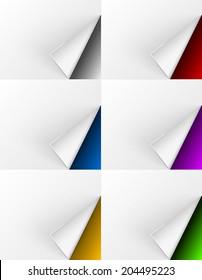 White paper curls on different colors backgrounds for web design and other needs. Vector illustration