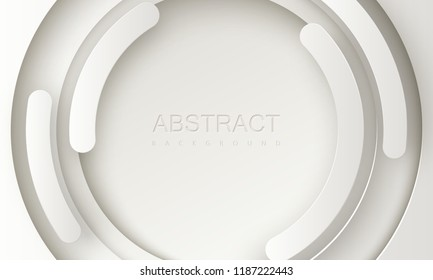 White paper cut background. Abstract realistic papercut decoration with radial dynamic shapes layers. 3d backdrop. Vector illustration. Cover layout template. Modern design