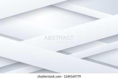 White paper cut background. Abstract papercut decoration textured with layers or ribbons. 3d backdrop. Vector illustration. Material design concept. Minimalist cover template