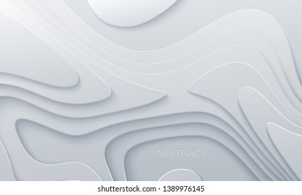 White paper cut background. Abstract realistic papercut decoration textured with wavy layers. 3d topography relief. Vector topographic illustration. Cover layout template.