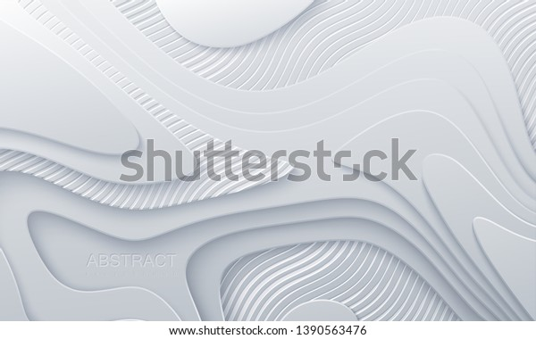 White abstract realistic wallpaper with wavy layers and engraved striped pattern. 3d topography relief.