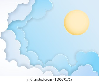 White paper cut clouds and sun in the blue sky. Modern 3d paper art style. Vector illustration of cloudscape, sunny day. Pastel colors