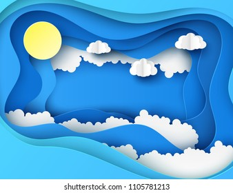 White paper cut clouds and sun in the blue sky. Modern 3d deep paper art style. Vector illustration of cloudscape, sunny day. Pastel colors