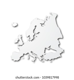 white paper cut map of europe with smooth vector shadows on white background