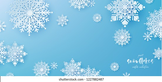 White Paper cut snow flake greeting background, Merry Christmas and Happy New Year banner, winter origami, snowfall papercut poster. Vector Snowflake frame, paper snow modern card, trendy ornament.