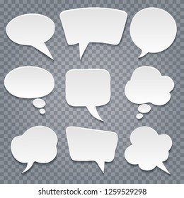 White paper cut speech bubbles on transparent background. Vector illustration.