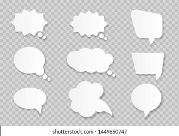 White paper cut speech bubbles on transparent background. Vector illustration.