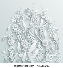 White paper floral background in 3d style.