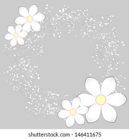 White Paper Flower Card Design Background