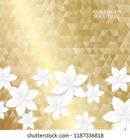 White paper flowers on the golden triangle texture. Vector illustration.