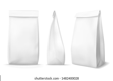 White paper food bag. Blank snack product packaging bags mockups. Products pouch, lunch meal box packet. Realistic vector package with shadow for coffee and eating, closed grocery foodbag template