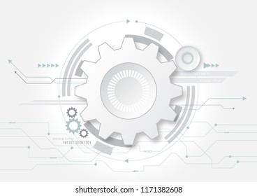White paper gear abstract background for technology concept