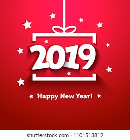 White paper gift box with 2019 New Year greeting card. Useful for Happy New Year or Happy Christmas background.