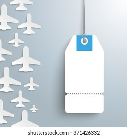 White paper jets with price sticker on the gray background. Eps 10 vector file.