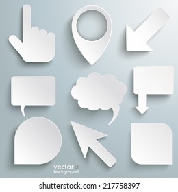 White paper markers on the grey background. Eps 10 vector file.