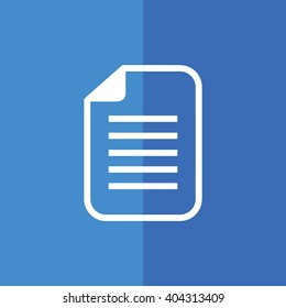White paper note icon document vector illustration. Blue background