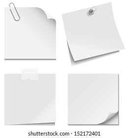 White Paper Notes - Set of white paper notes with paper clip, clear tape, and tack isolated on white background.  Vector illustration, Eps10.