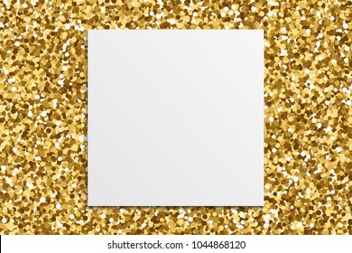 White paper on gold glitter texture background. Gilded abstract particles. Sparkle element for greeting card, website, banner or premium flyer. Vector illustration