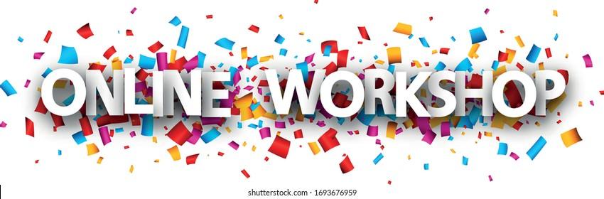 Whitepaper Online-Workshop-Schild auf konfetti mehrfarbigem Hintergrund. Großbuchstaben Vektorillustration Design Element für Banner, Web.