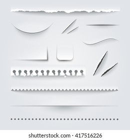 White paper perforated ripped torn jagged cut edges texture samples set realistic shadows vector illustration
