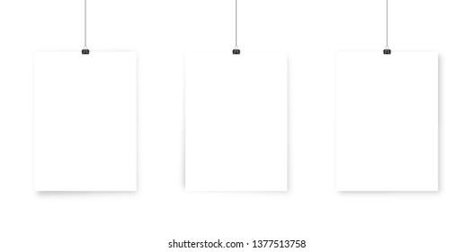 White paper poster mockup .  Wall advertising mockup .
