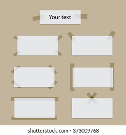 White paper rectangles with scotch tape on light background. Vector illustration.
